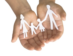 family in the child's hands
